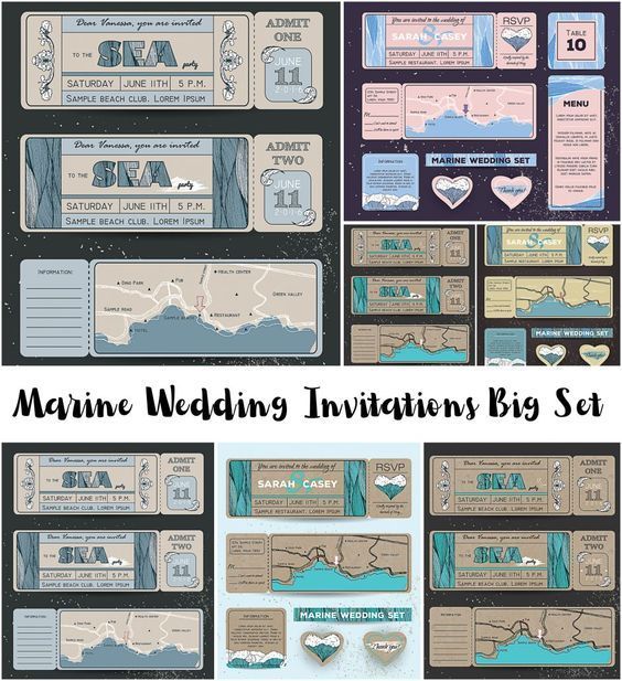 Free printable and free Marine Wedding Invitation Big Set