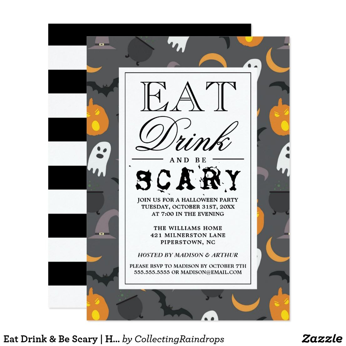 Eat Drink & Be Scary | Happy Halloween Party Card | Halloween ...
