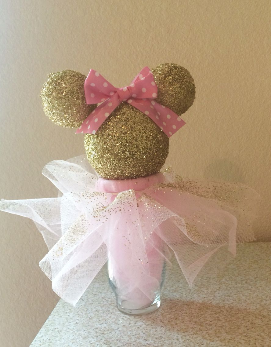 Bella's pink and gold Minnie Mouse centerpiece | Pink ...
