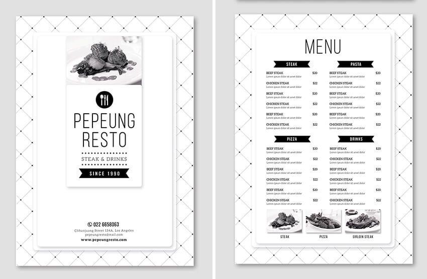 minimal menu GRAPHIC DESIGN Pinterest Print templates, Adobe - a la carte menu template
