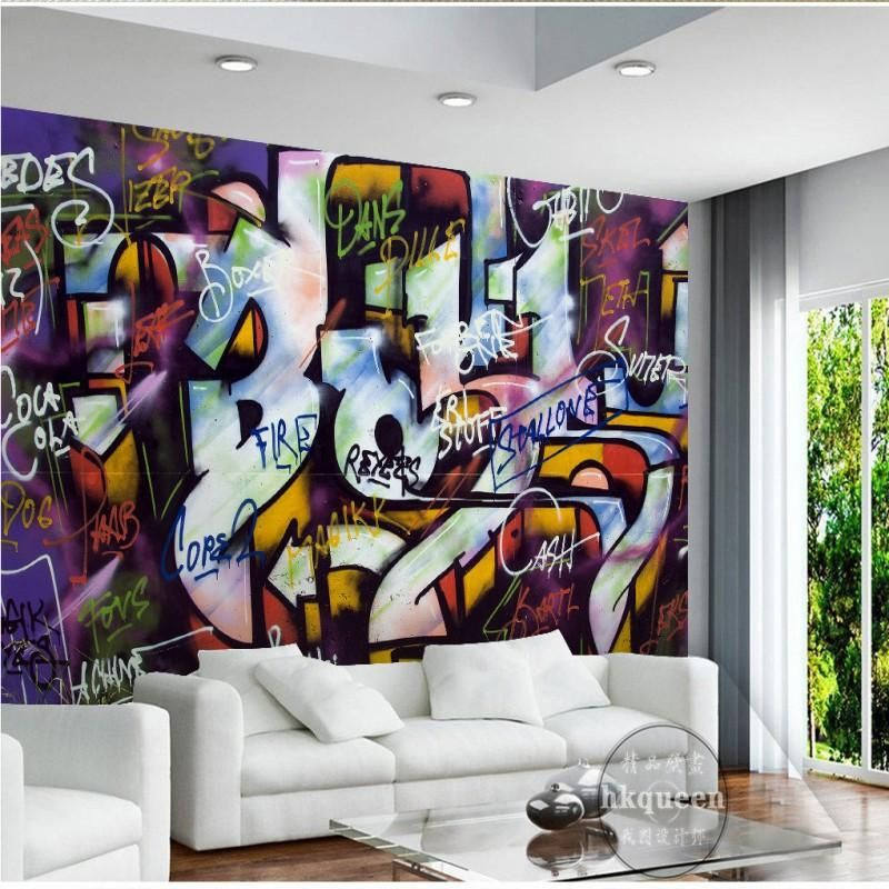 Custom Mural Wallpaper Street Art Graffiti Design Bar Cafe Home
