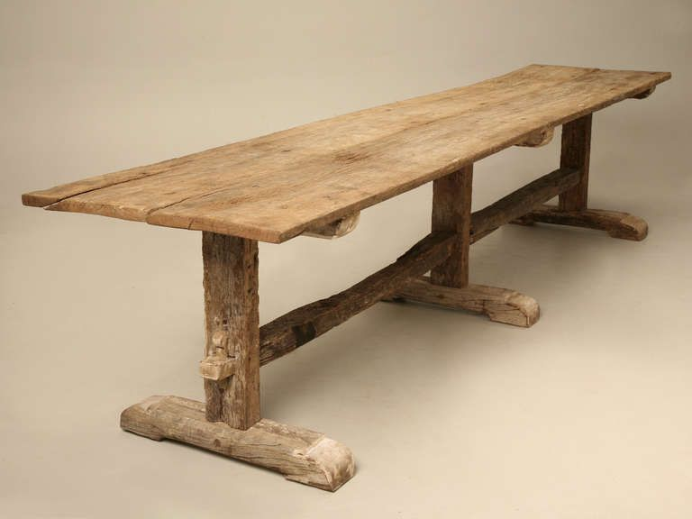 Spanish White Oak Rustic Dining Table circa 1900