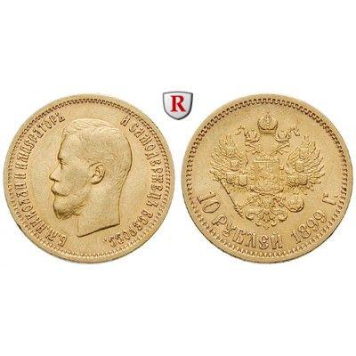 Russland, Nikolaus II., 10 Rubel 1899, 7,74 g fein, ss-vz/vz: Nikolaus II. 1894-1917. 10 Rubel 7,74 g fein, 1899. Friedb. 179; GOLD,… #coins