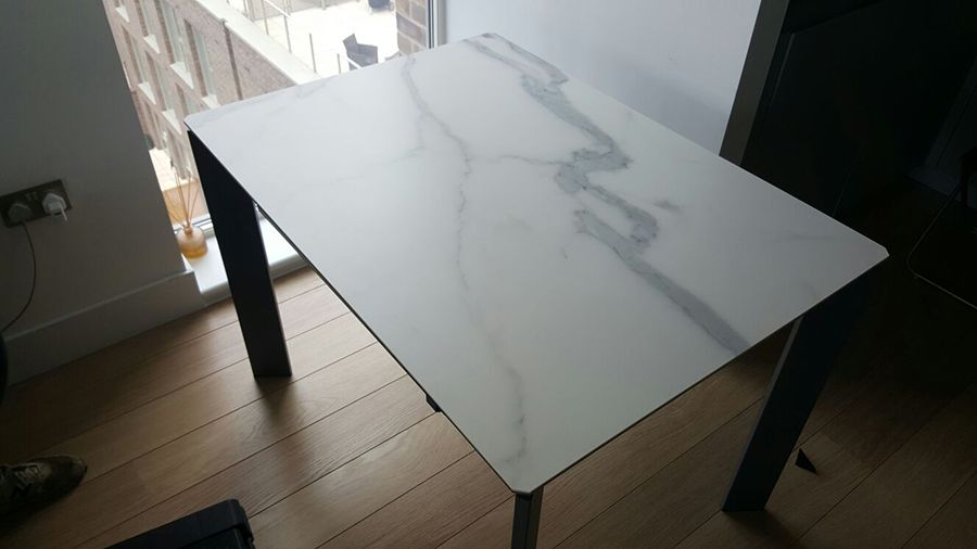 Link Ceramic Top Marble Effect Extendable Dining Table Delivered - Marble top extendable dining table