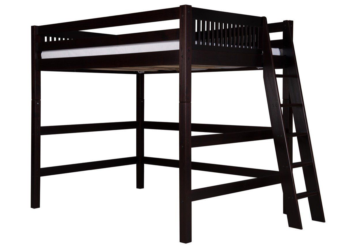 High loft bed with stairs  Camaflexi Full High Loft Bed  Mission Headboard  Lateral Ladder