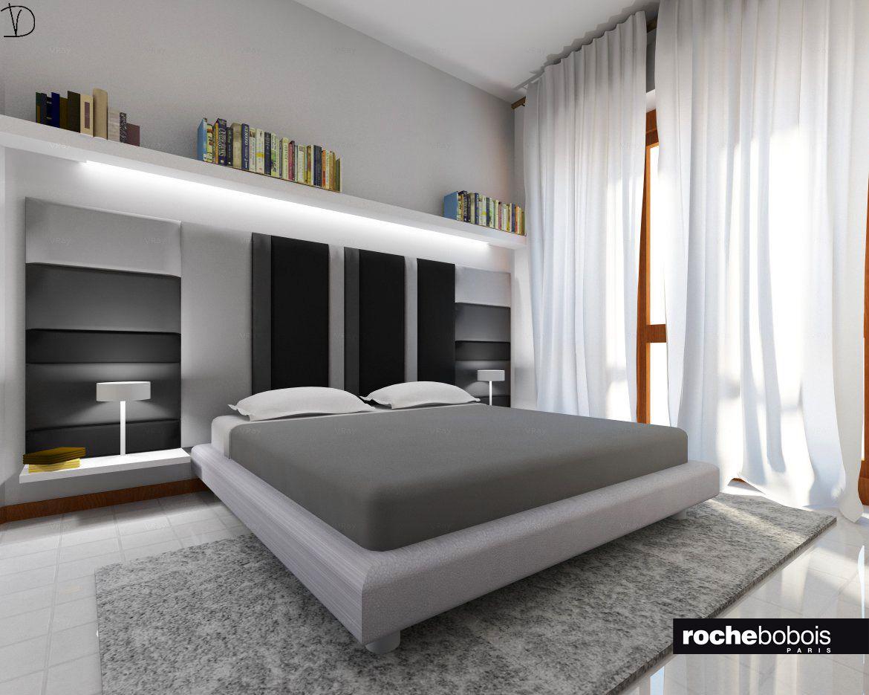 Camera da letto #matrimoniale sui toni del #grigio. #Testiera ...