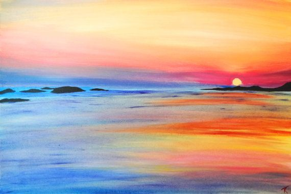 Hawaiian Sunset An Original Painting On Canvas Of A Hawiian Beach