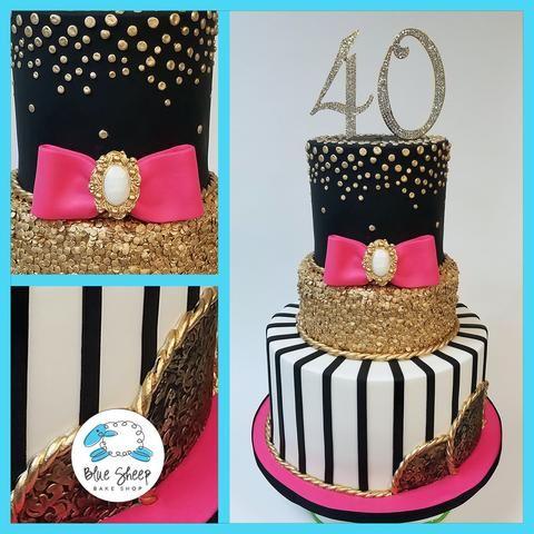 White Pink Black 40th Birthday Cake Nj