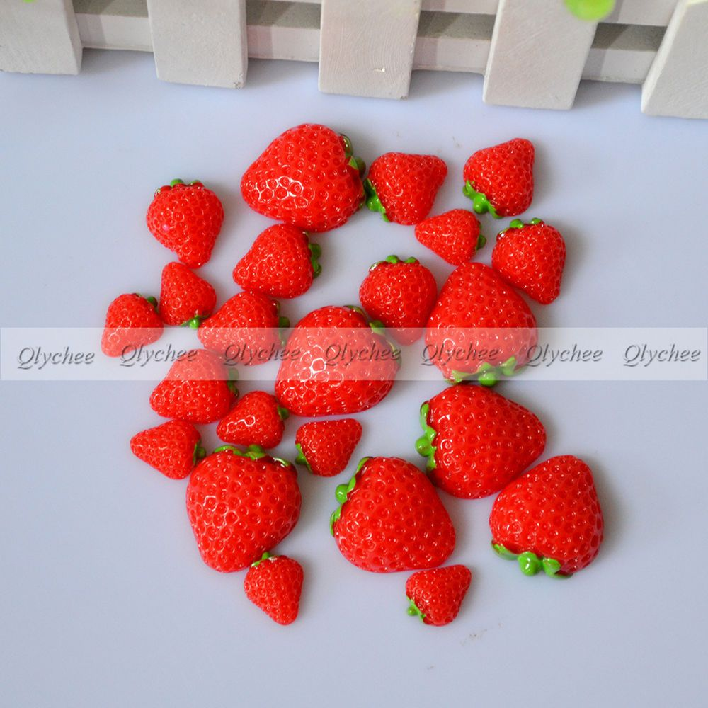 Mix Lots 3D Strawberry Resin Flatback Button Scrapbook Diy Craft Phonecover