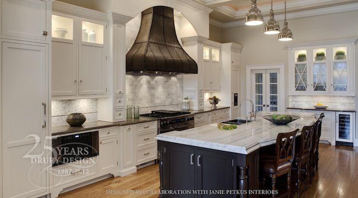 White Kitchen Cabinets Espresso Island kitchens - iron range hood white shaker kitchen cabinets black