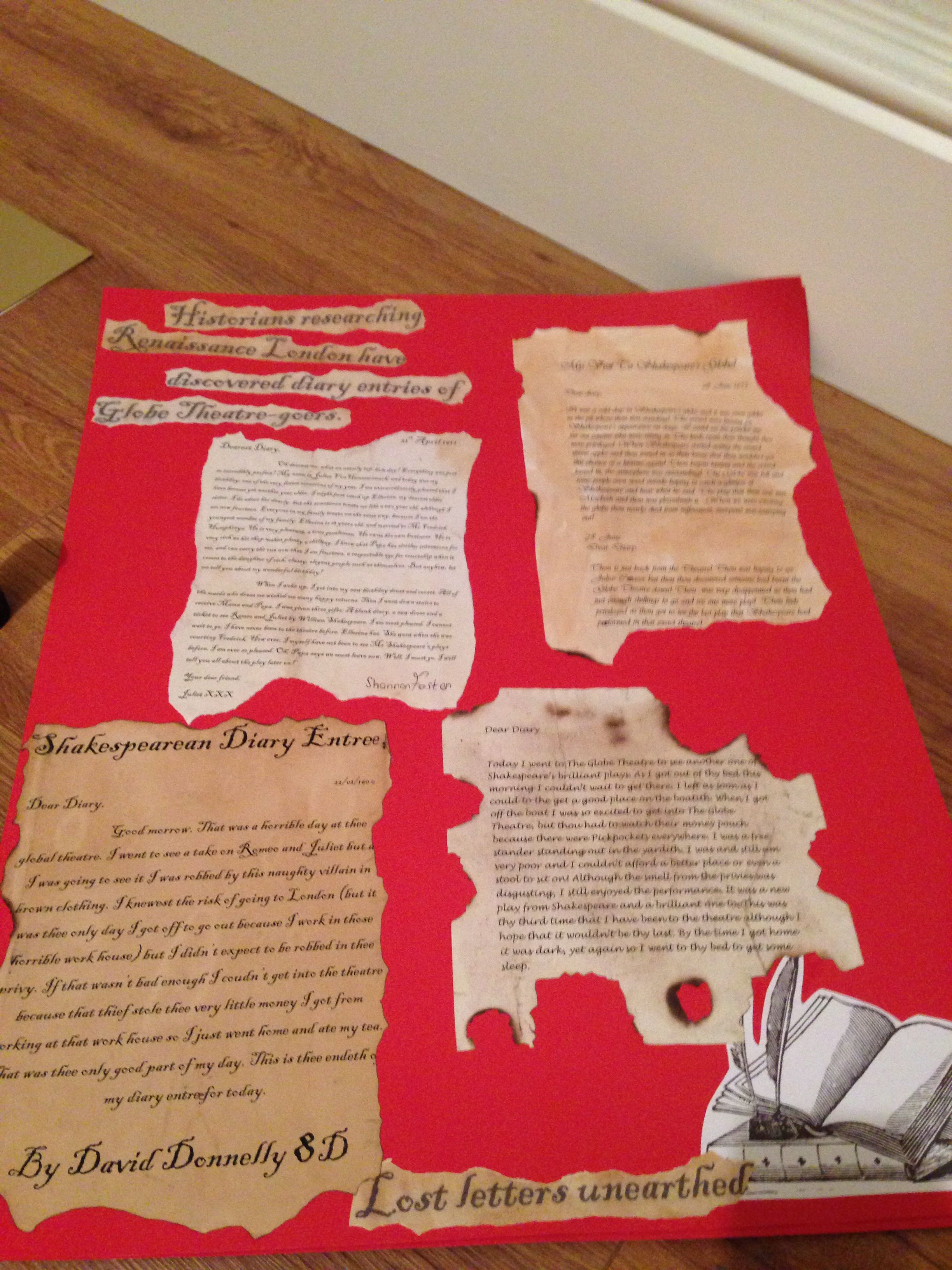 Wall Displays Shakespearean Diary Entries About The Globe