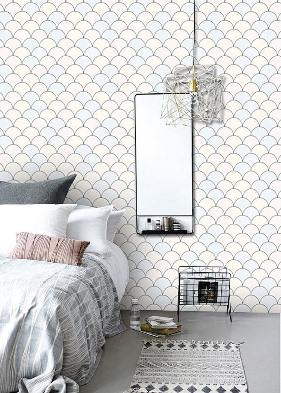 Scallop Pattern Wallpaper In Pastille Removable Vinyl Wallpaper Peel Amp Stick No