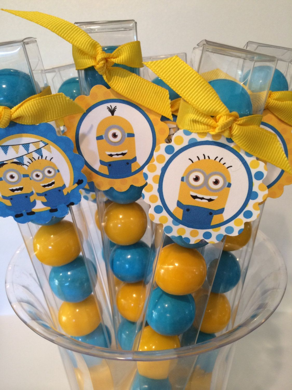 6 Despicable Me Minion - Birthday Party Favor Gumball Candy by LolasSweetsAndTreats on Etsy