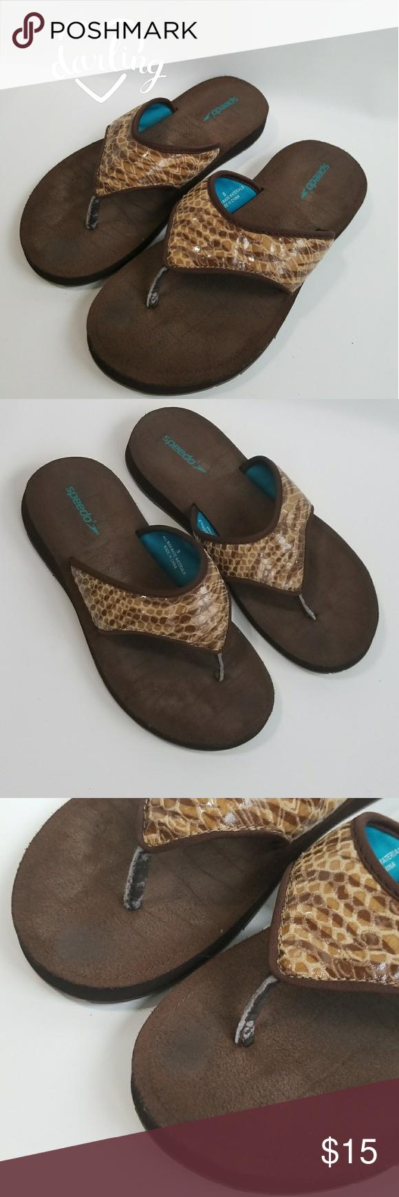 3d25360de Speedo Thong Slip On Flip Flops Sandals Shoes Sz 8 SPEEDO Brown Bermuda Wedge  Flip Flop