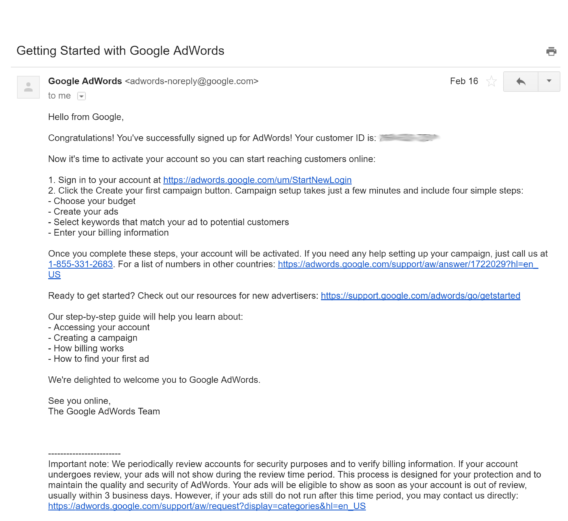 adwords welcome email example | Emails | Welcome emails