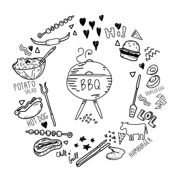 Cute hand drawn barbecue elements set in a circle. Includes…