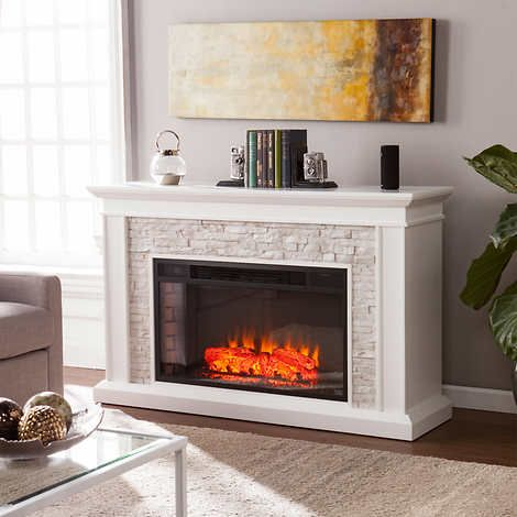 ledgestone mantel led electric fireplace white new house