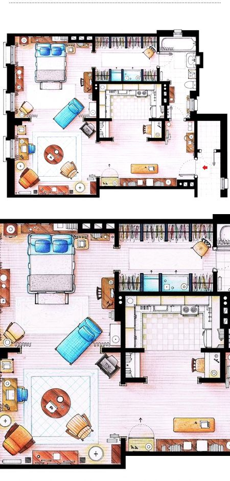 This is an interesting layout - Carrie Bradshaw's New York apartment.  Drawing by Inaki Aliste Lizarralde