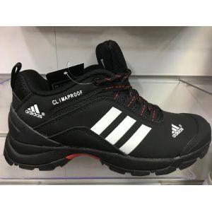 Мужские зимние кроссовки Adidas Climaproof цвет черный с белыми вставками 65d3c93a91f