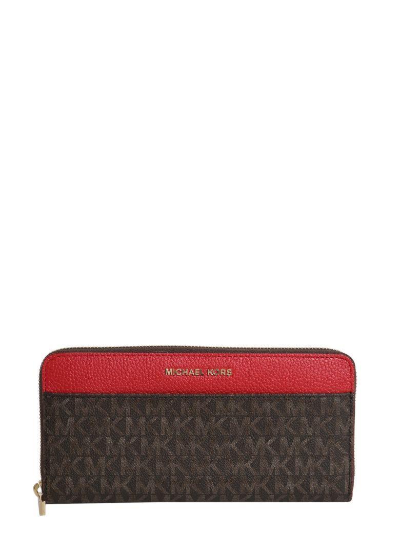 Michael Michael Kors Mercer Zip Around Continental Wallet In Brn Brt Red Modesens