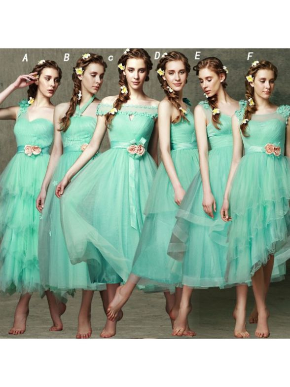 Short bridesmaid dress,mint bridesmaid dress,different style ...