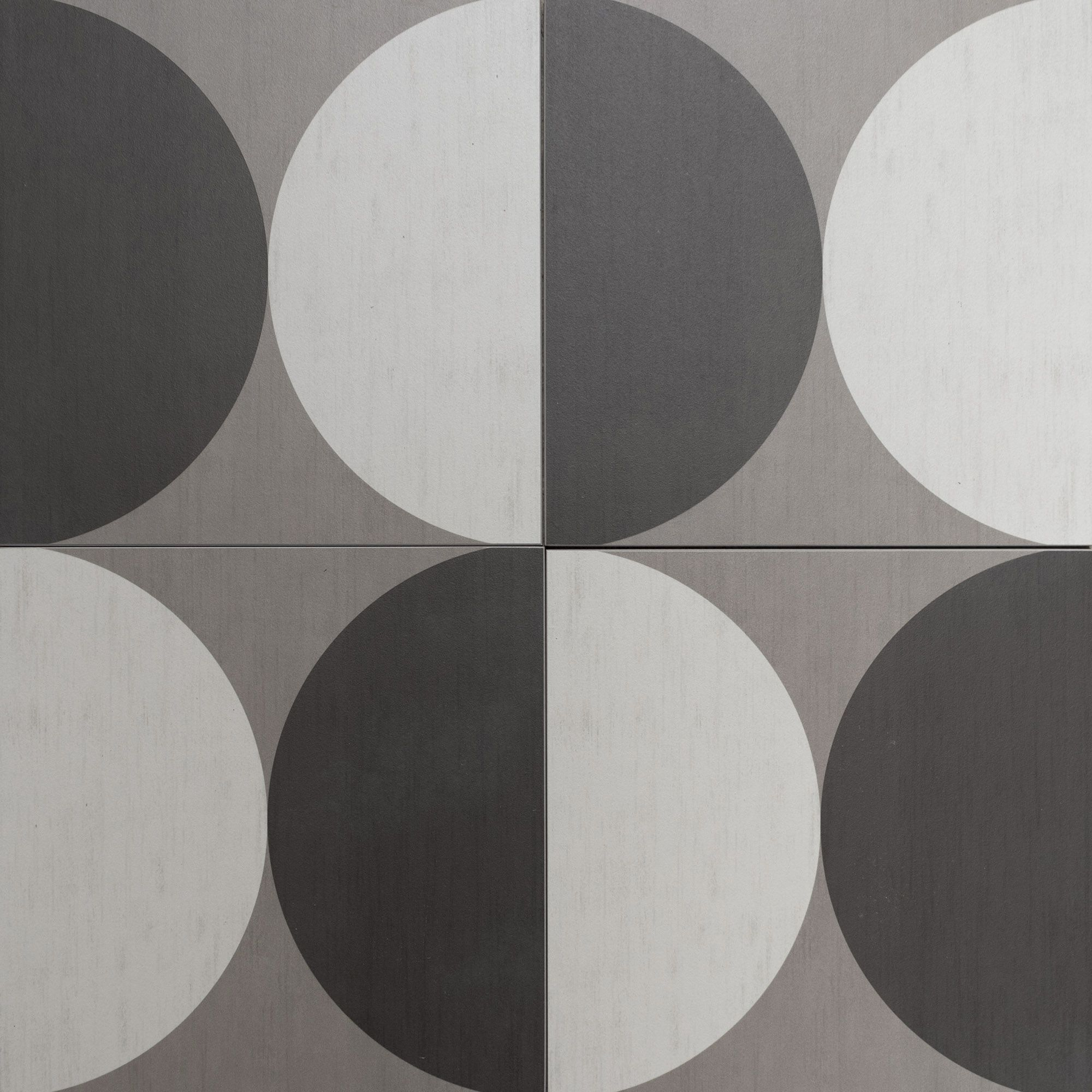 Circle Style Floor Tiles Encaustic Look Porcelain Tiles Grey
