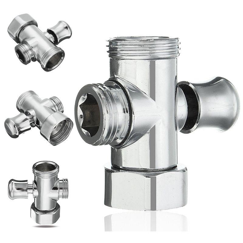 1x For Toilet Bidet Shower Head Diverter Valve Three Way T-adapter Valve 1//2 3//4