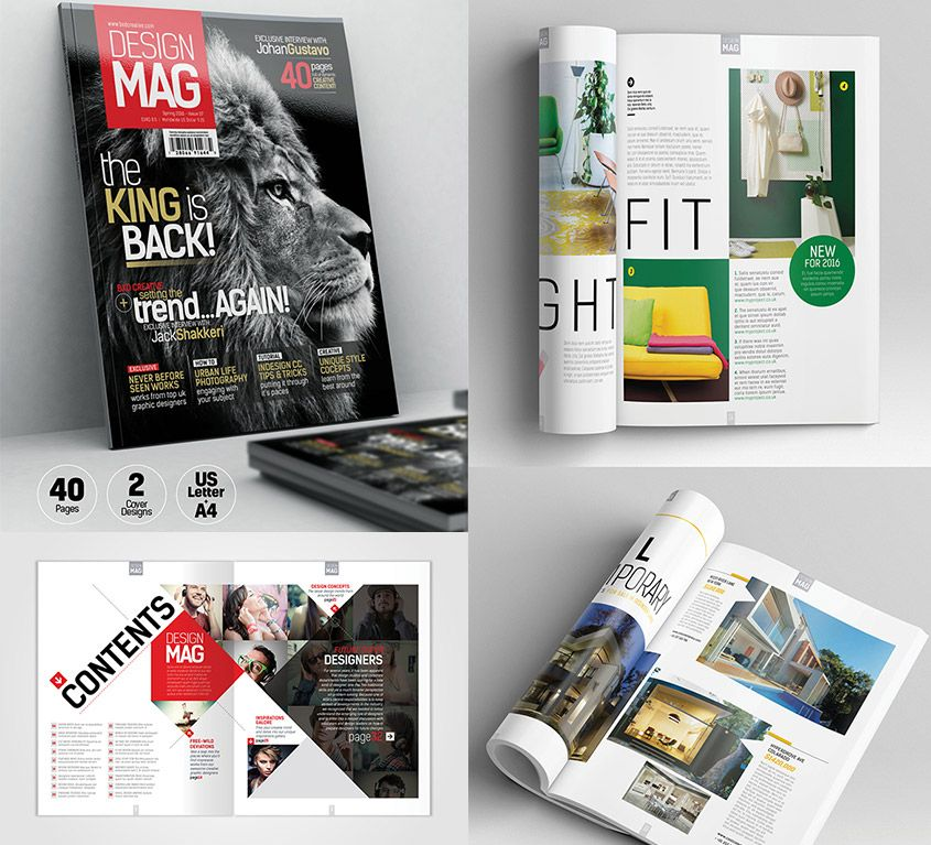 Magazine Template Indesign 40 Page Layout V7