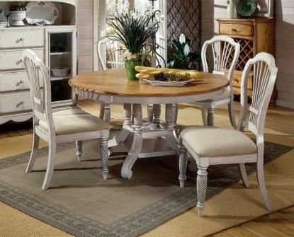 Wilshire Distressed Antique White Dining Set w Ivory Fabric