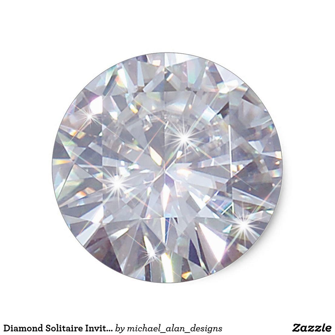 Diamond Solitaire Invitation Envelope Stickers Zazzle Com Diamond Image Diamond Background Man Made Diamonds