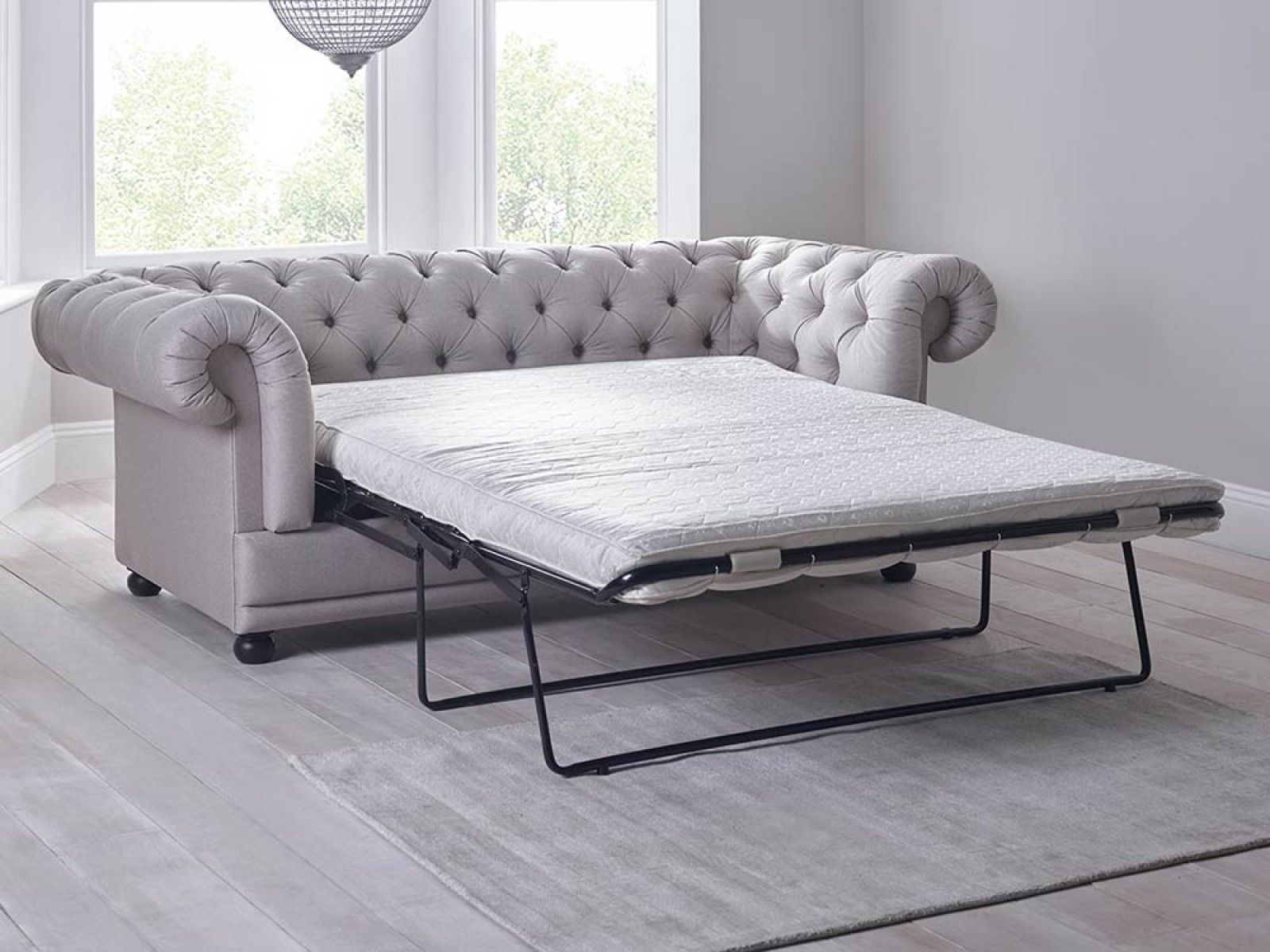 Cara Double Sofa Bed In Grey  A Chesterfield By