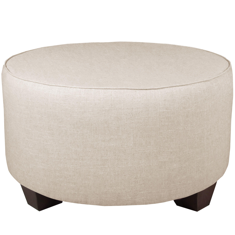 Skyline Furniture Linen Talc Round Cocktail Ottoman Linen Talc