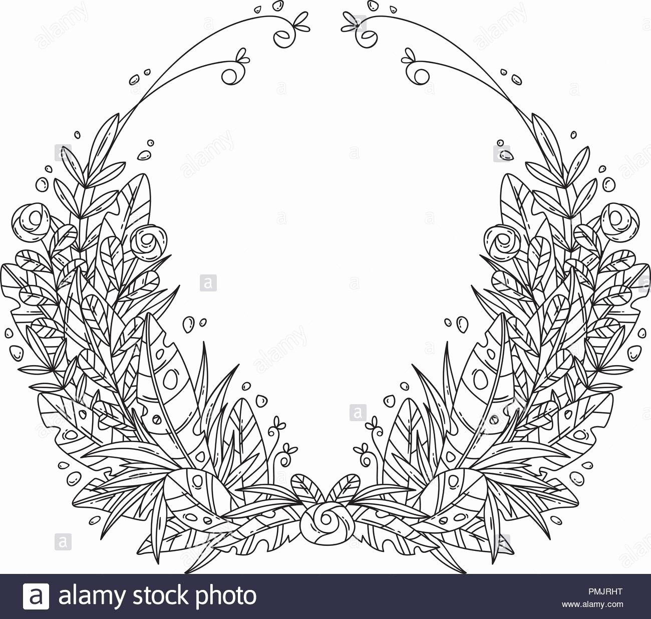 Flower Wreath Coloring Page In 2020 Christmas Coloring Pages