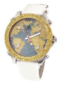 Jacob & Co White Band 5 Time Zone World Map Dial 6 50Ct Diamond