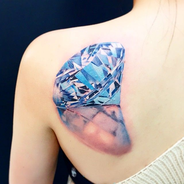 Realistic Diamond Tattoo Back Tattoos Pinterest Gemstones Best