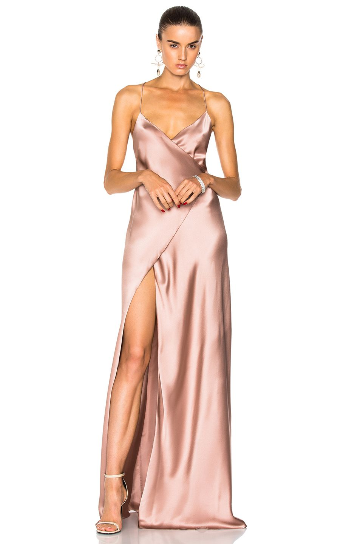 strappy wrap gown - Grey Michelle Mason SbcYipy