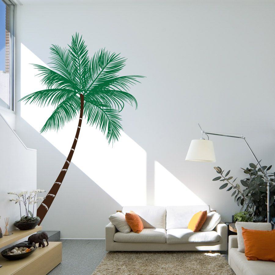 Great Living Room : Green Brown Vinyl Palm Tree Living Room Wall Decals With  Removable Wall Sticker Decal Also White Fabric 2 Seat Sofa Couch And Orange  ... Part 6