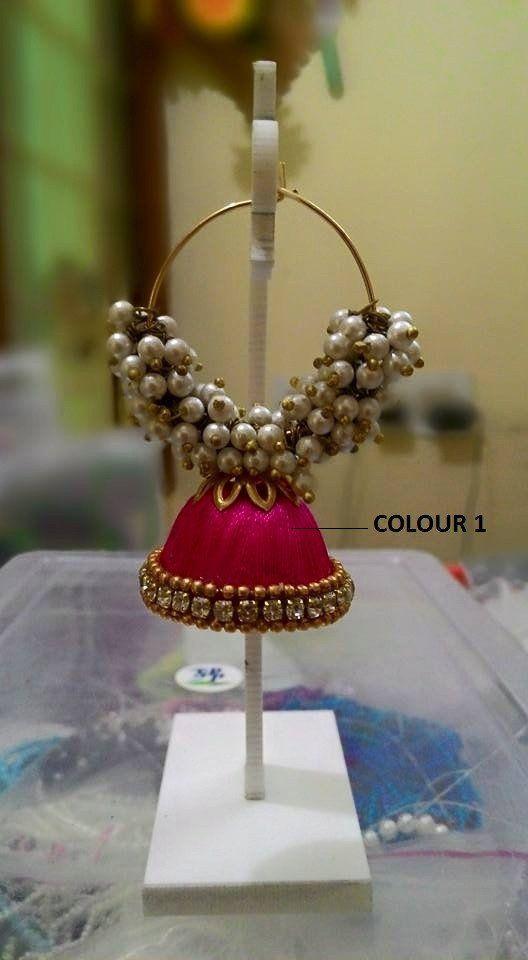 Pink Pearl Silk Thread Jhumka – TRADENIMBO