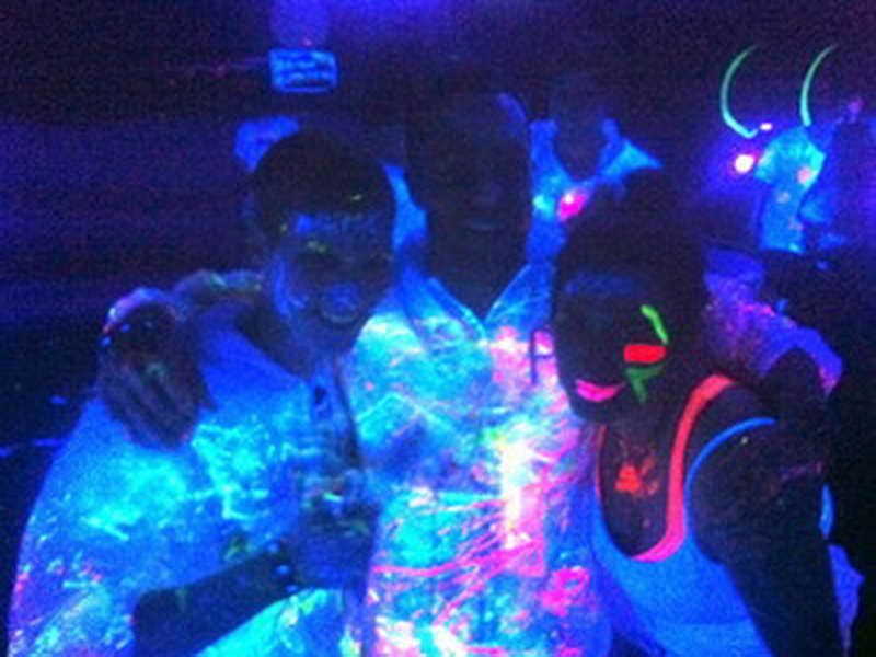 black light party room blue and neon lighted rooms and places