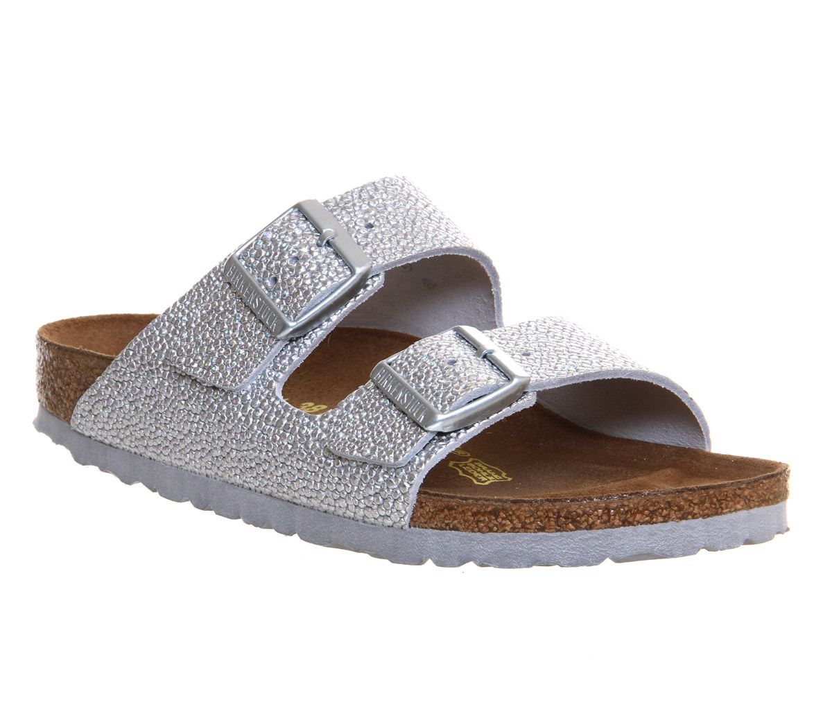 Birkenstock Arizona Two Strap Womens Sandals Silver Pebble