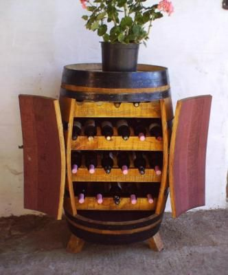 Botellero barrica de vino mueble en madera roble americano madera hierro a mano lo m s bonito - Botelleros de madera para vino ...