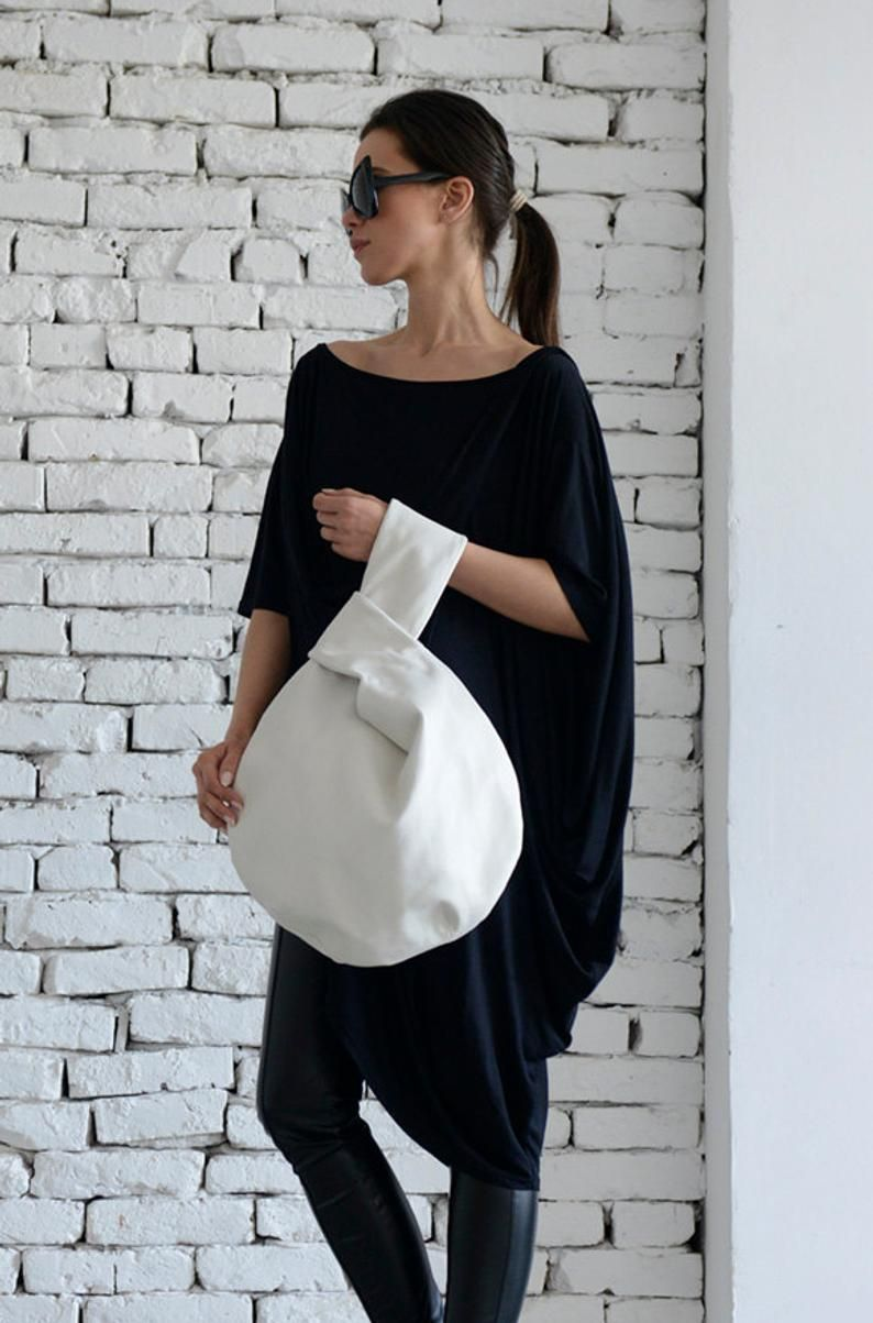 Photo of White Circle Bag/Extravagant Avantgarde White Tote/Designer Modern Hand Clutch/Fancy White Handbag/Handmade White Bag/Tote Bag/Mini Bag