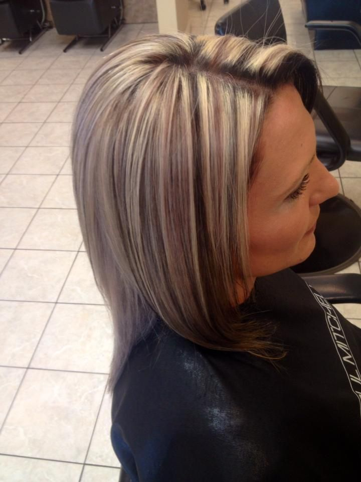 Chunky 3 Tone Highlight And Lowlight Platinum Blonde Hair