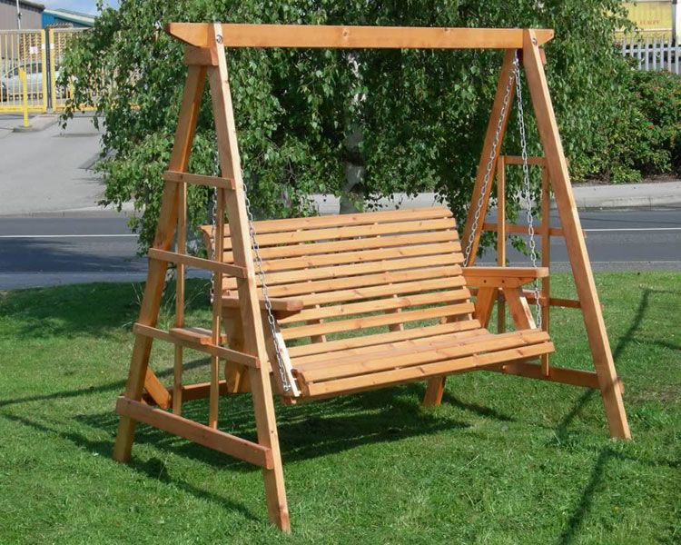 garden swing seat patio outdoor furniture timber wood chair chain