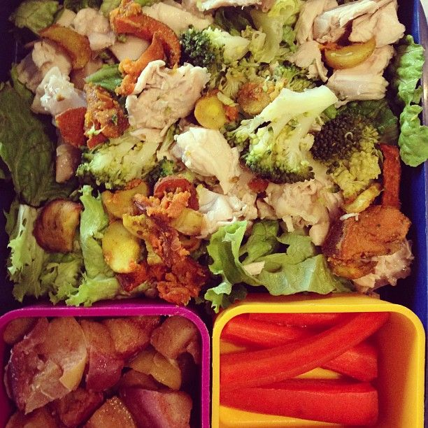 REAL Lunch Photo: #realfood #getreal salad with pastured chicken, roasted root veggies, steamed broccoli; carrots and baked apples with cinnamon and coconut oil