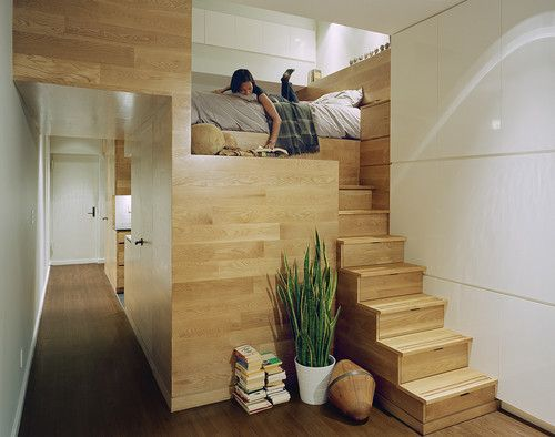 The stairs are storage.  Smart and cute use of empty space!!