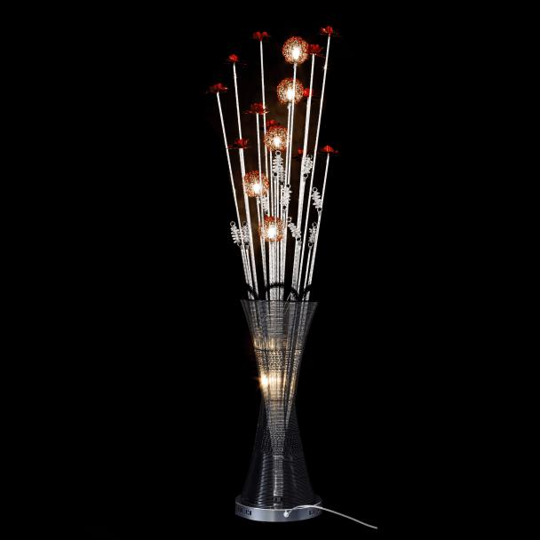 Grande lampe vase LED fleurs aluminium Marta