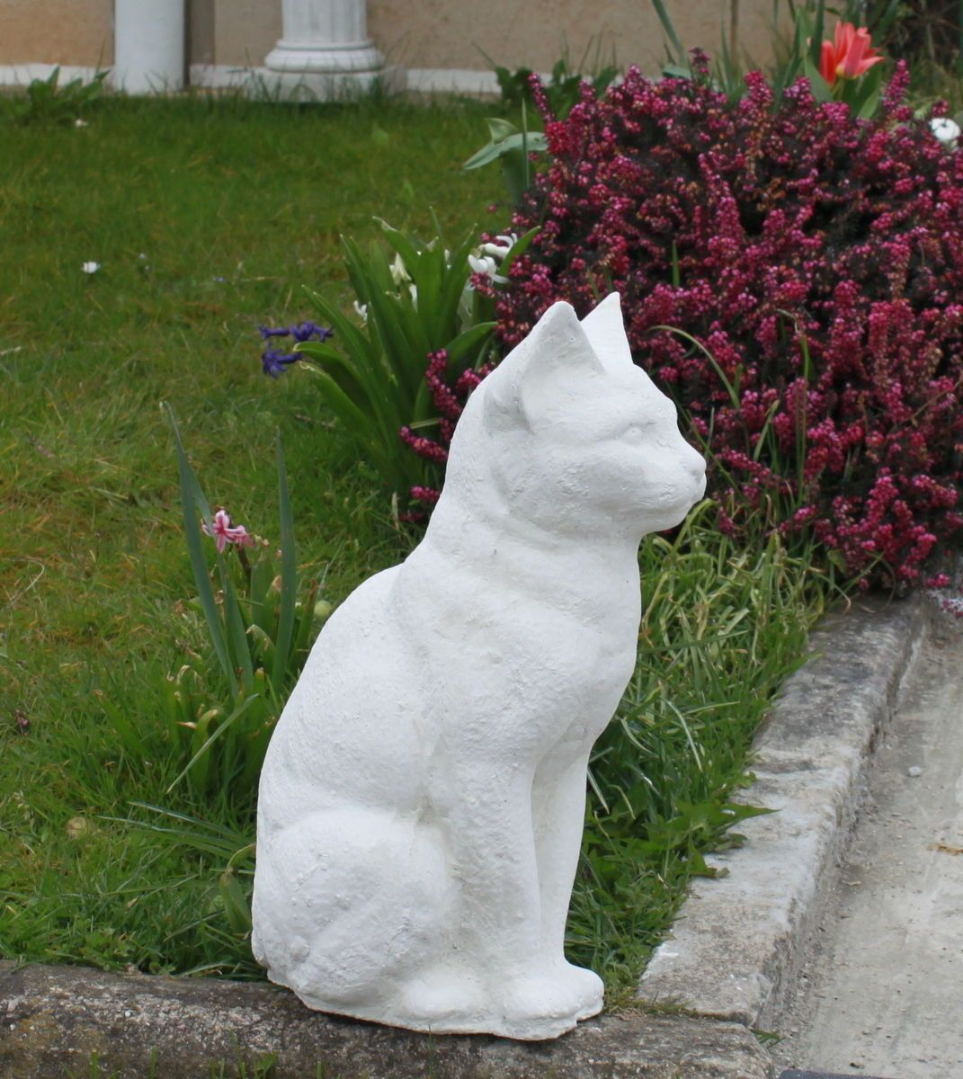 Statue Chat Egyptien En Pierre Reconstituee Ton Pierre Blanche