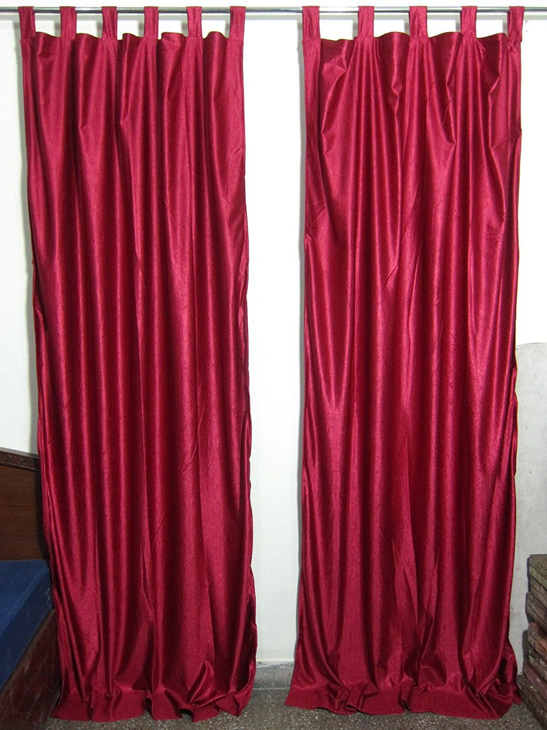 Mogul Interior Indian Sari Curtains Maroon Tab Top Drape Panel Pair Window Treatment Ideas