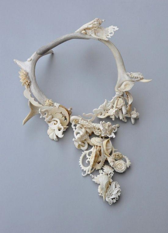 Jennifer Trask, Germinate Necklace, 2010. Bone, antler, teeth, pre-ban ivory, steel, brass, diamonds.